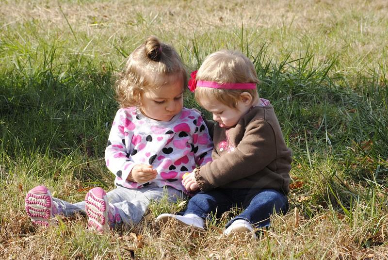 2 toddlers sitting on the grass photo