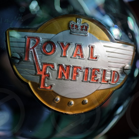 Emblem on a Royal Enfield Motorcycle in the Motor Museum at Bourton-on-the-Water photo