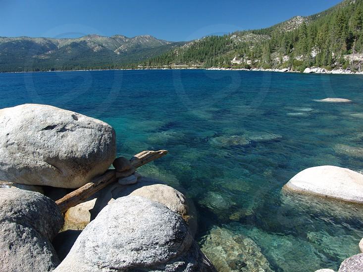 Rocks at south side of lake tahoe photo