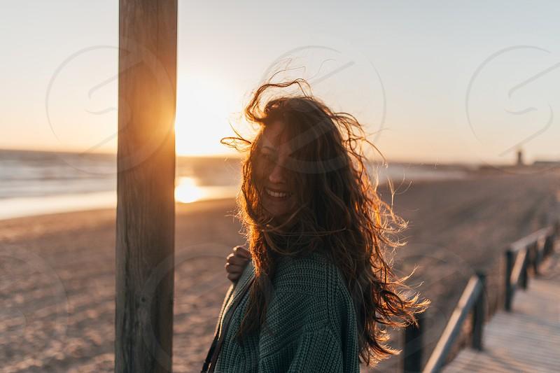Portrait sun sunset light rays photo