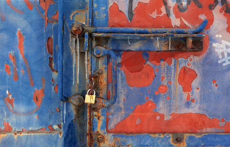 Closeup view on textures of an old train wagon.  photo