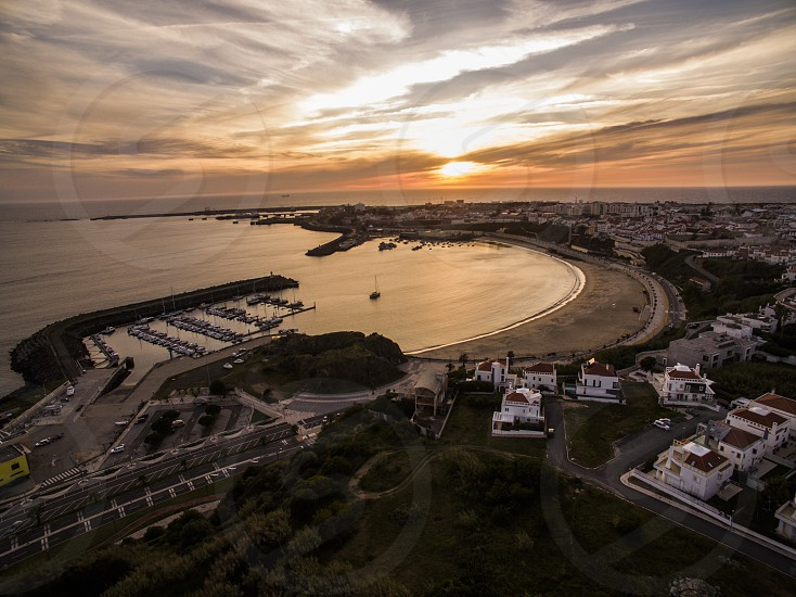 Sunset in Sines Portugal . Bay Aerial beach photo