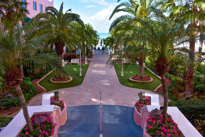 St. Pete Beach Florida. January 25 2019. Top view of The Don Cesar Hotel and palms trees. The Legendary Pink Palace of St. Pete Beach. photo