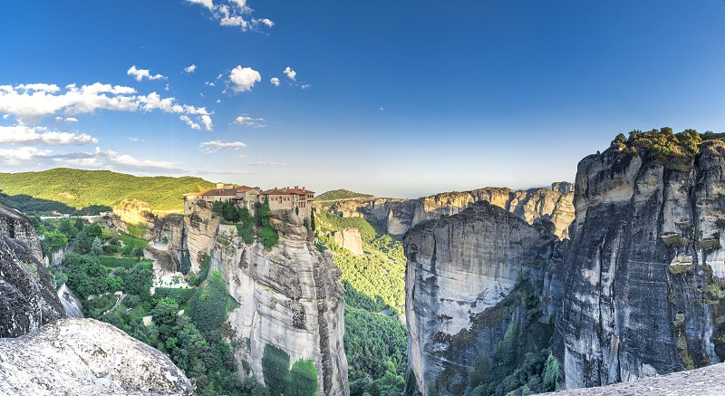 Panoramic view of the Varlaam Monastery in Meteora Kalambaka town in Greece on a sunny summer day photo