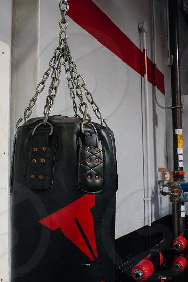 black and red heavy bag hanged photo