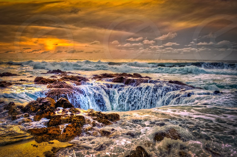 Thors well on Oregon Coast. Landscape sunset ocean photo