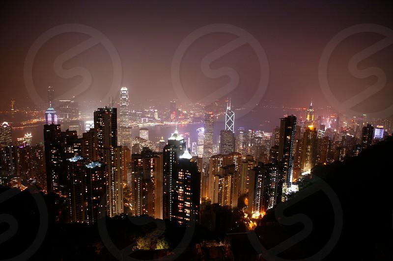 Hong Kong Victoria's Peak city night buildings skyscrapers atmosphere photo