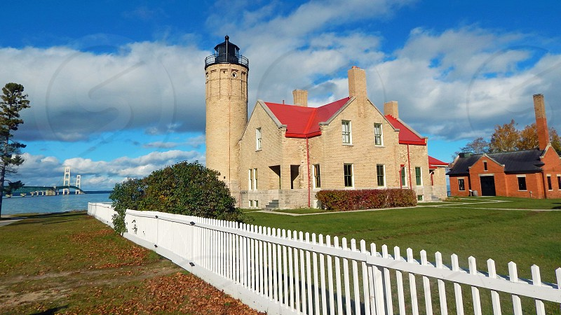 Mackinac Point Lighthouse and Bridge in Michigan. photo