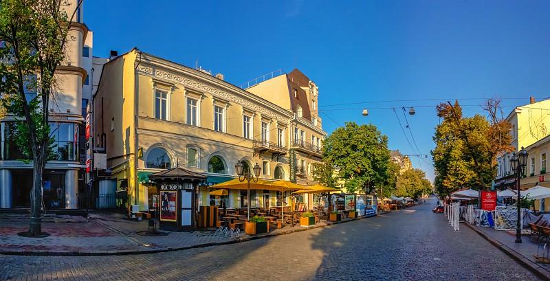 Odessa, Ukraine 06.30.2020. Deribasovskaya street in the historical center  of Odessa, Ukraine, on a sunny summer morning by Sergii Zarev. Photo stock  - Snapwire