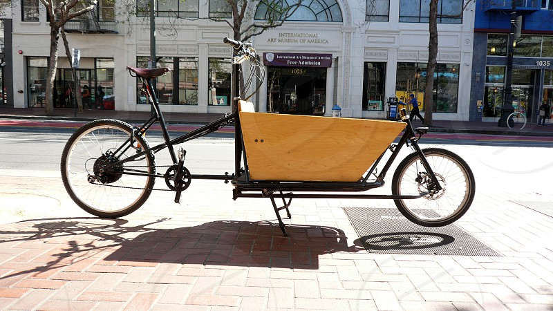 Bicycle with a delivery trunk built in. photo