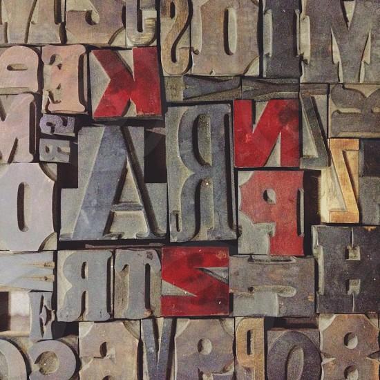 Letterpress wood type letter red design typeset vintage collection photo