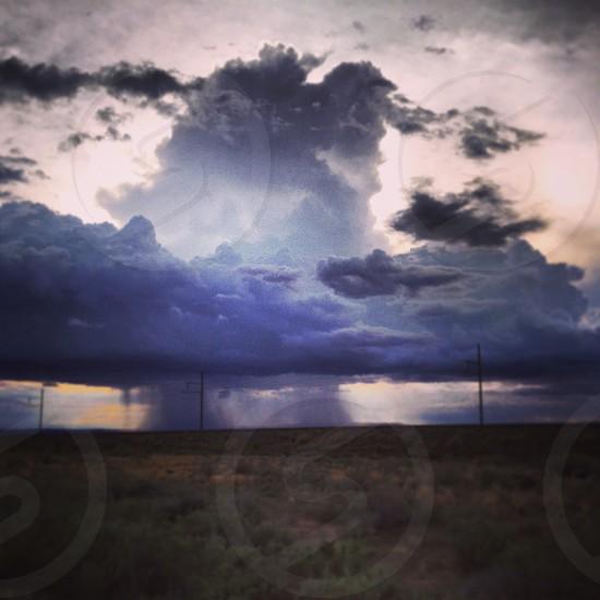 Rain Storm Northern Arizona. Beautiful Clouds Storm Isolated Rain Storm. photo