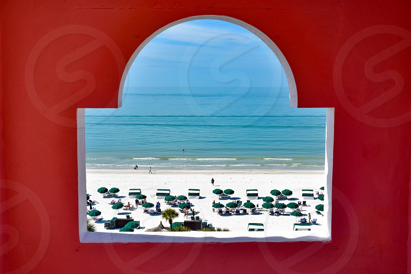 St. Pete Beach Florida. January 25 2019.  Beautiful view of St. Pete Beach from window in tower of The Don Cesar Hotel .The Legendary Pink Palace of St. Pete Beach (21) photo