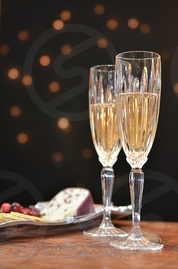 clear long stemmed wine glass photo