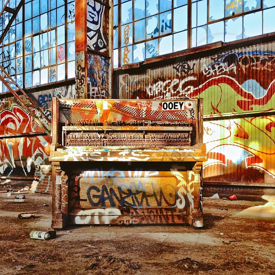 Abandoned building graffiti piano  photo