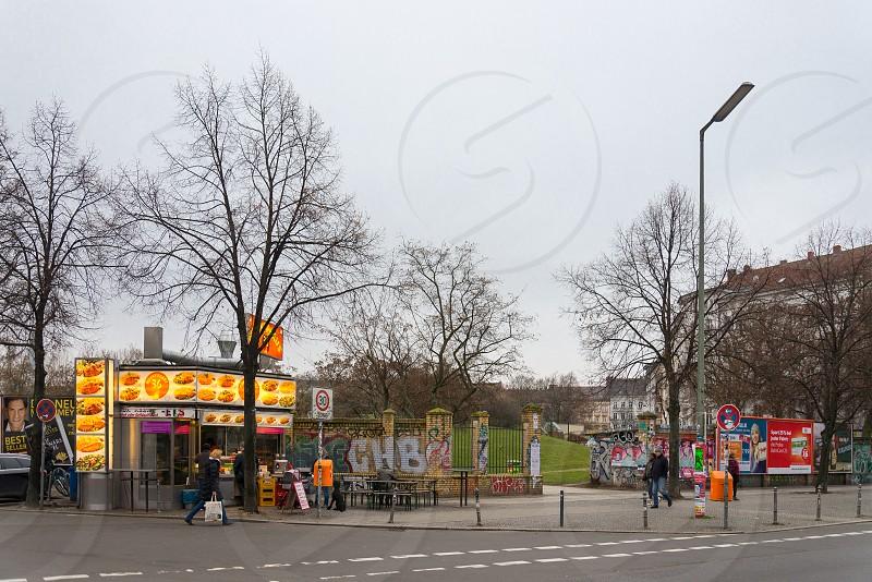 View from the opposite of the entrance to Görlitzer Park when accessing the park from U Görlitzer Bahnhof (Berlin) Kreuzberg Neighborhood Berlin Germany photo