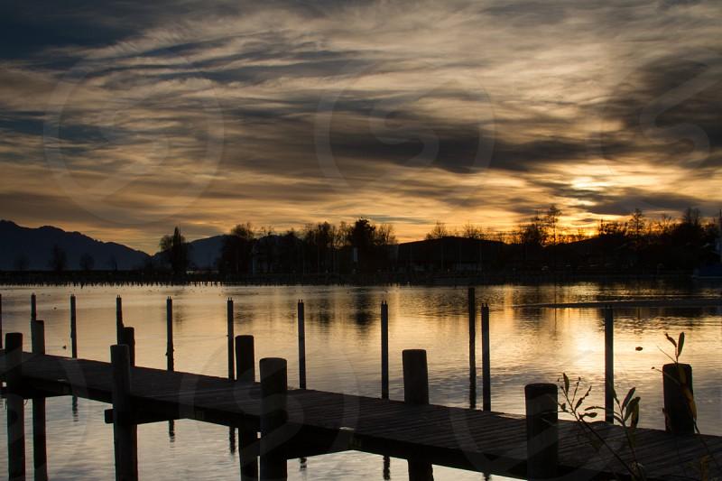 Winter sunset at Seebruch Marina Bavaria Germany photo