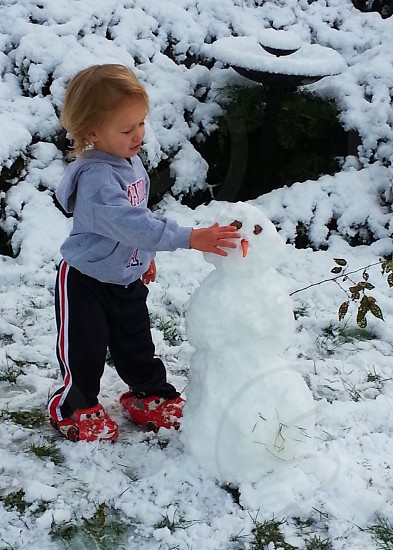 kids forming snowman photo