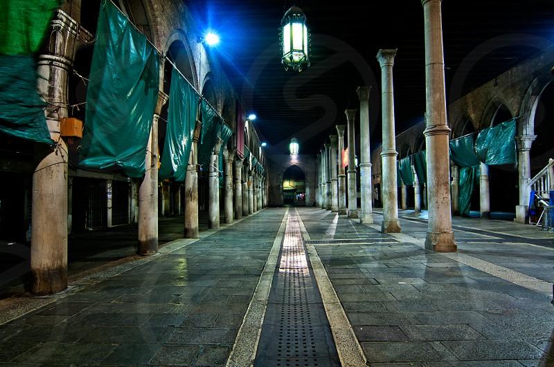 "Venice Italy ""pescheria"" fish market when closed by night photo"