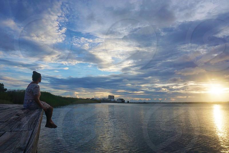 Dock at sunset  photo