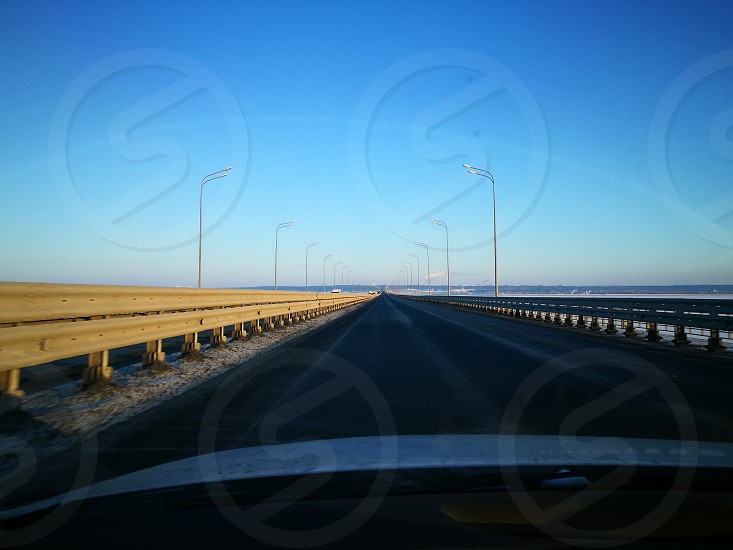 Breadge road Volga sky photo