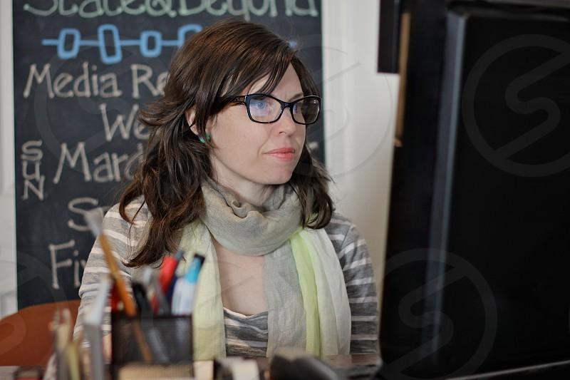 women's black framed eyeglasses photo