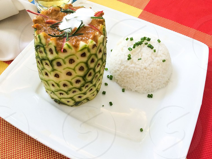 Amok cambodian food food delicious rice pineapple yummy photo