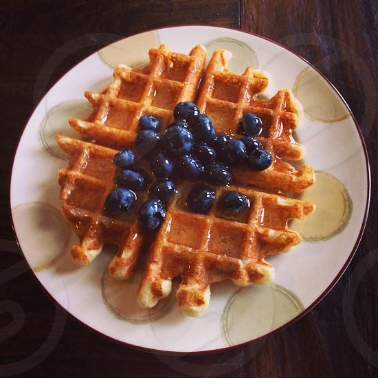 Blueberries waffles cooking sourdough sponge sourdough starter homemade photo