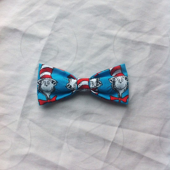 cat in the hat print bow tie photo