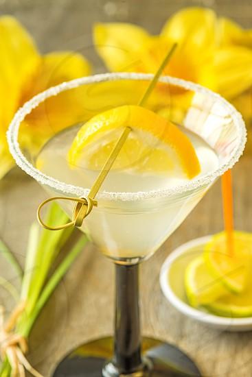gin with lemon slice  photo