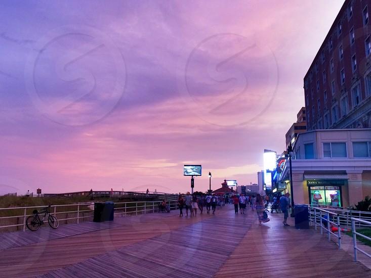 Purple sky ultraviolet purple violet evening Atlantic City boardwalk New Jersey shore photo