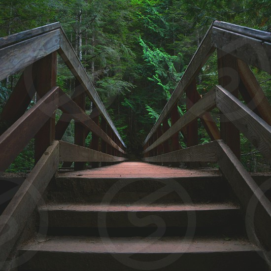 gray wooden stairs photo