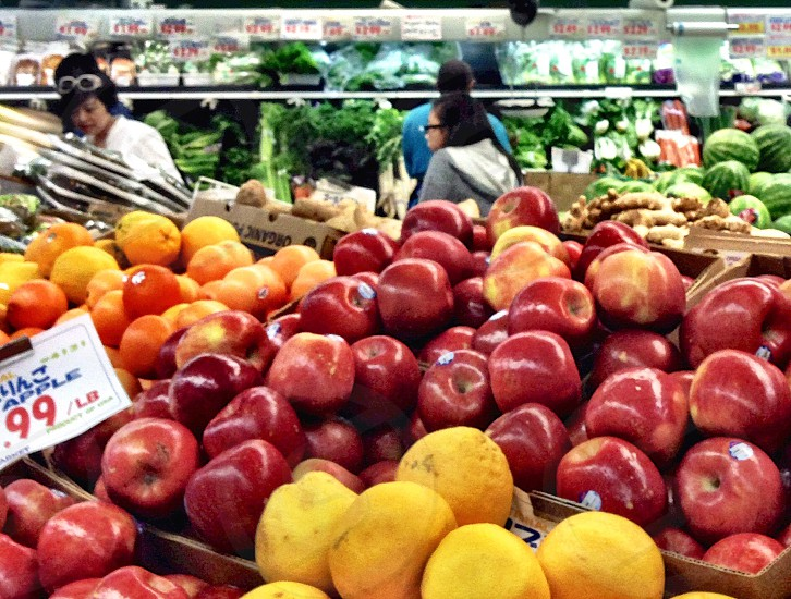 Produce department of grocery store  photo