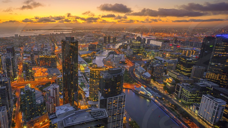 Golden sunset over Melbourne  photo