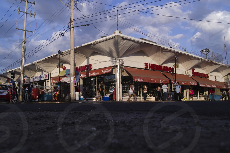 Esquina del mercado Pedro Sainz de Baranda. Campeche México photo