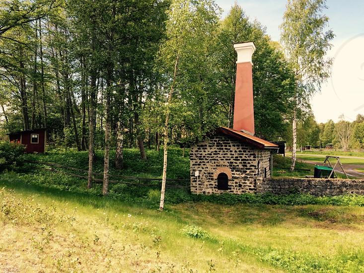 Some 1800s buildings in Langvindsbruk Sweden photo