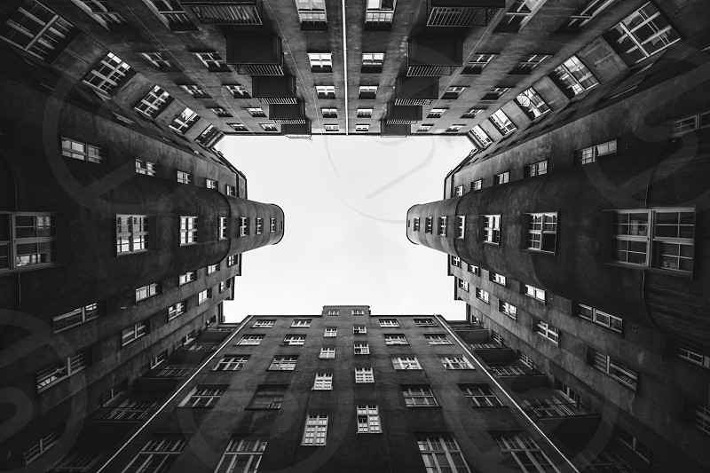 Looking up in an old apartment complex in Warsaw photo