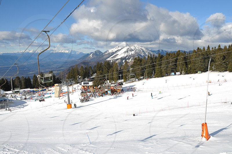 Krvavec Slovenia - 8 January 2012: Krvavec Alpine Mountain Ski Resort in Slovenia is only 30 minutes away from Slovene capital Ljubljana and a popular destination for wintersports in Slovenia photo