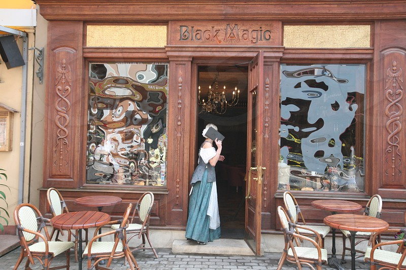 a restaurant in the old town in the city of riga in latvia in the baltic region in europe. photo