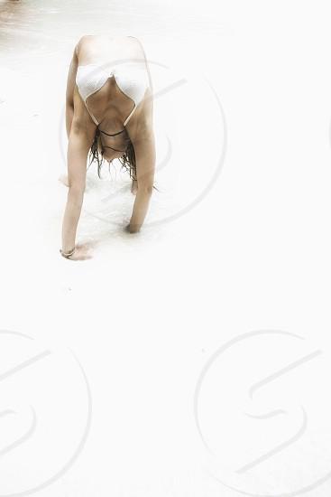 Girl beach yoga  photo