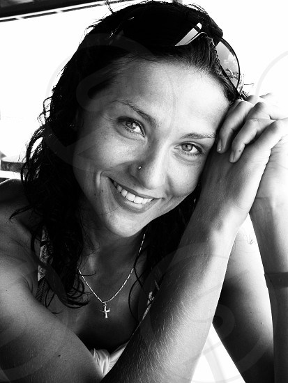 Smiling smile woman happiness black and white  photo