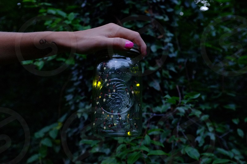 person holding clear glass container photo