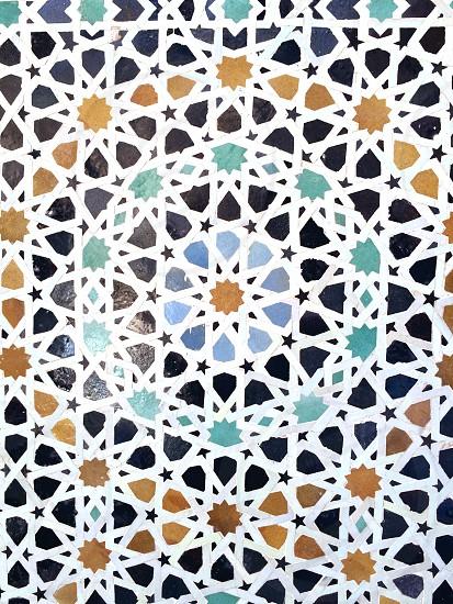 Moroccan zellij (mosaic tile)   pattern stars tile photo