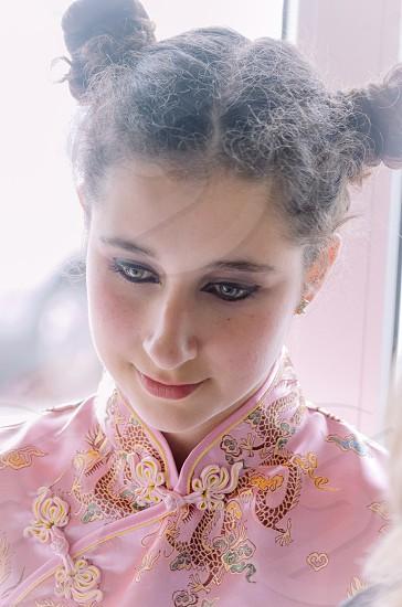 woman wearing a pink kimono photo