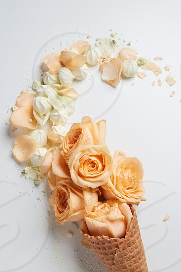 Valentine's Day ice cream with orange flowers petals and white zephyrs over white background. Copy space may be used for your ideas emotions and concepts. photo