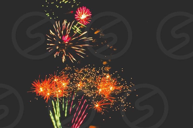 fireworks against black background photo