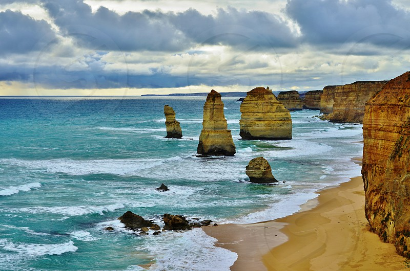 The Twelve Apostle rock formation off the Great Ocean Road in Australia photo