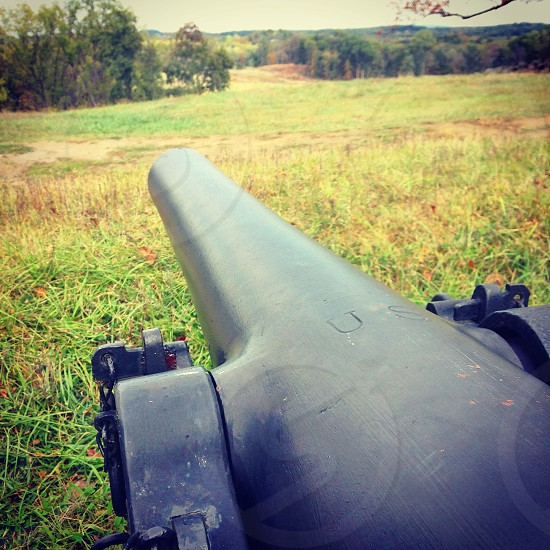 Down the barrel of a cannon at gettysburg battlefield  photo