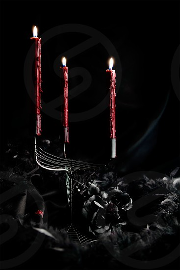 Dark and creepy for Halloween themes. Spiderweb candelabra blood red dripping candles black roses and feather boa.  photo