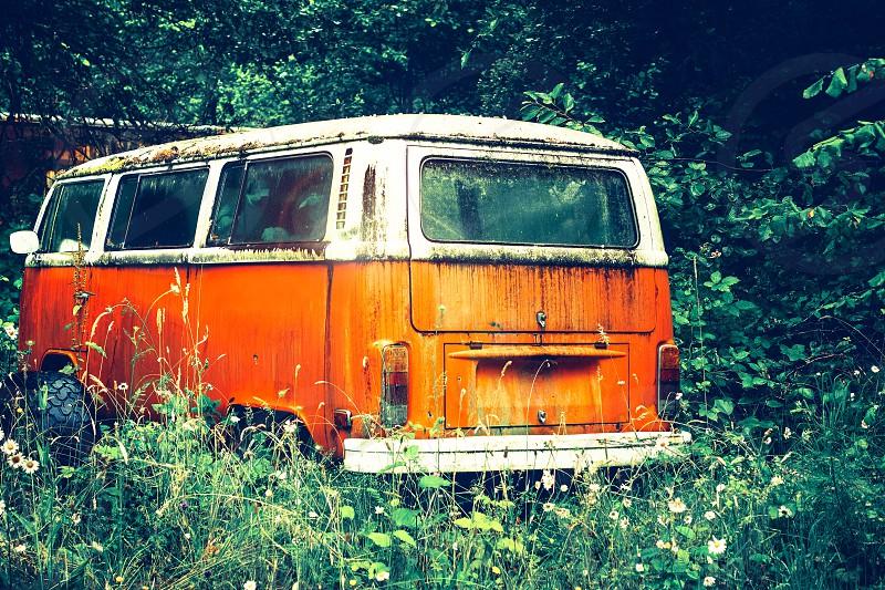 Old van in the wild Oregon photo